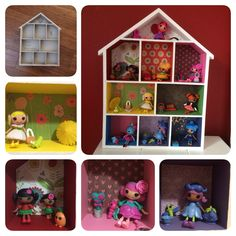 Mini Lalaloopsy Storage idea.  Bought the display box from K-mart for AUD$12.  Transformed it with acrylic paints, and scrapbook paper before the lalaloopsy mini girls moved in