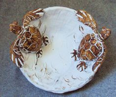 Nautical Ceramic Double Sea Turtle Bowl by Shayne by shaynegreco, $190.00