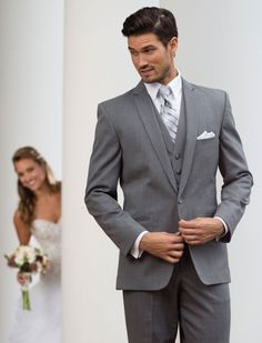 Grey Valencia by Savvi Black Label - Tropical weight wool, 1 button, Grey, Shown with coordinating accessories. Tuxedo by Savvi Formalwear St. Groom And Groomsmen Looks, Groom Wear, Groom Attire, Groom Suits, Mens Suits, Grey Tuxedo Wedding, Wedding Suits, Men Wedding Attire, Gray Tuxedo