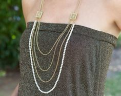 Champagne Long Layered Necklace by MLinksDesigns on Etsy