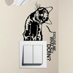 Noir commutateur autocollants stickers muraux chat curieux -1400 Fond d'écran