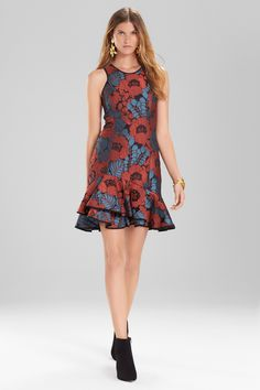 Vivid florals in a rich color palette and sleek shape. Shop the novelty jacquard dress at natori.com