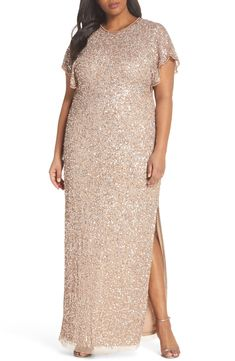 ba9ce6e92d Gold Flutter Sleeve Beaded Sequin Gown  ad -  motherofthebride Summer  Mother Of The Bride