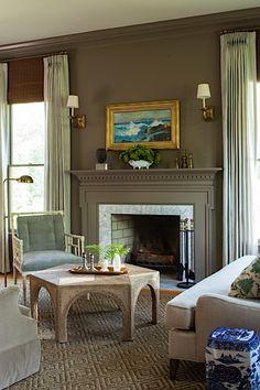 Lauren Liess Living Room Green, Cozy Living Rooms, Living Room Furniture, Living Room Decor, Traditional Fireplace, Traditional House, Marble Hearth, Gold Floor Lamp, Adjustable Floor Lamp