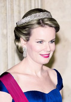 """Queen Mathilde of the Belgians, wearing the Meander Bandeau portion of the """"Nine Provence Tiara."""". The tiara, originally a gift form the Belgian state to Princess Lilian of Sweden on the event of her marriage to the future king of the Belgians in 1926."""
