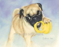 Pug Puppy Fine Art Print by ArtByJulene on Etsy