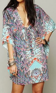 Sexy Loose-Fitting Plunging Neckline 1/2 Sleeve Chiffon Cover-Up For Women #Sexy #Multicolor #Ethnic #Geo #Print #Beach #Kaftan #CoverUp #Fashion