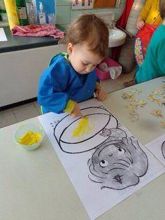 Met vinger pudding schilderen