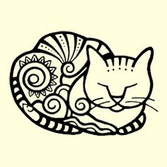 Cloisonné Cats Rubber Stamp Set of 2