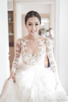 Illusion lace Zuhair Murad wedding gown // Thai actress and model Noey Chotika's wedding at Grand Hyatt Bangkok {Facebook and Instagram: The Wedding Scoop}
