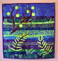 Applique abstract art quilt in lime green and purple (Product Front)