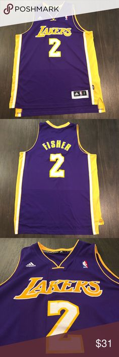 9b1b30f82 LA Lakers Derek Fisher Adidas Jersey LA Lakers Derek Fisher Adidas Jersey  Men s Large Condition