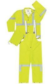 MCR Safety® Lime Luminator™ .38 mm Polyester - PVC 3-Piece Rain Suit With Hi Viz Stripes, Detachable Hood - Bib Pants