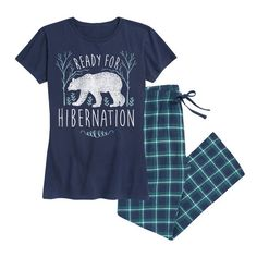 Women's Airwaves LLC Women's Holiday Tee and Flannel Pant Sleep Set... ($30) ❤ liked on Polyvore featuring intimates, sleepwear, pajamas, blue, lounge & sleepwear, holiday sleepwear, flannel pjs, flannel sleepwear, holiday pjs and flannel pajamas