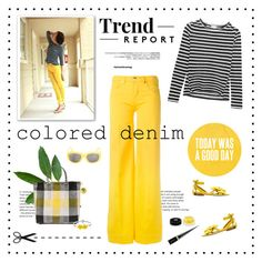 """""""Spring Trend: Colored Denim"""" by likepolyfashion ❤ liked on Polyvore featuring Love Moschino, Frame, TRUSS, Olgana, Givenchy, Christian Louboutin, Surface To Air, coloredjeans and fashionset"""