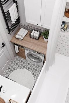 small bathroom Here are tips from us, so hopefully you watched this section 35 Simple amp; Clean Small Bathroom Ideas On A Budget (Here some tips too, Dont miss it! Dont be shy to have a small bathroom on budget. That was unique and less money Tiny House Bathroom, Laundry In Bathroom, Modern Bathroom, Bathroom Small, Laundry Rooms, Bathroom Grey, Master Bathroom, Tiny Bathrooms, Bright Bathrooms
