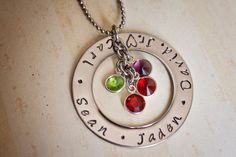 Hand stamped mommy necklace washer kids by StampedMemoriesbyMel, $28.00