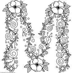 Free Download Floral Alphabet Letter M Coloring Pages Coloring Coloringbook Coloringpages Fl Flower Coloring Pages Alphabet Coloring Pages Coloring Letters