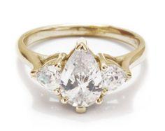 Unique 3 stone Oval Shaped Diamond & Hearts by SillyShinyDiamonds