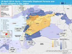 Syria – Internally Displaced Persons (IDPs) and Syrian refugees in the region. There are now 2,654,589 Syrian refugees (including 19,697 registered in North African countries) and 6.5 million IDPs countrywide (UN estimate, December 2013).