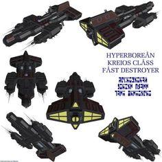 Hyperborean Kreios Fast Destroyer by Chiletrek Space Fantasy, Sci Fi Fantasy, Fantasy World, Stargate Ships, Stargate Atlantis, Futuristic Cars, Futuristic Vehicles, Stargate Universe, Starship Concept