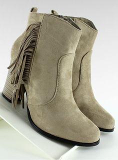 Botki kowbojki z frędzlami A-238 Beżowy | Sklep z butami i hurtownia obuwia KupButy.com