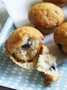 A simple recipe for mini (or full-sized) blueberry muffins.