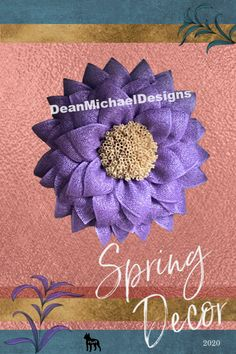 Spring wreath to welcome the season. Spring decor idea for your home. Spring decor wall hanging. Add a bright floral look to your home. Original by DeanMichaelDesigns. Rich purple poly burlap with a distinctive center to mimic the real flower.  Simple. Elegant. Whimsical.