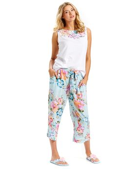 Image for Aqua Floral Pj Pant from Peter Alexander