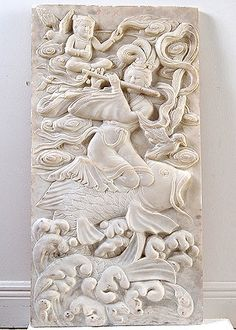 Chinese Antique Carved White Marble Plaque Depicting Goddess Playing Flute while Riding Fish