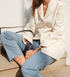 light denim and white jacket. casual/smart