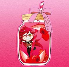 Black Butler Funtomscandy Cafe chibi/little Grell Sutlciffe in a red bottle with strawberries , rasberries and pink bow.