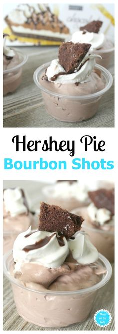 This recipe is easy as pie & a real party pleaser! Try these Hershey pie bourbon shots! 21+