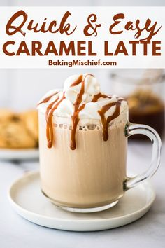 A Caramel Latte is one of the easiest sweet coffee recipes to make at home. All you need is 4 ingredients and about 5 minutes. Caramel Coffee Recipe, Starbucks Caramel, Caffe Latte Recipe, Starbucks Recipes, Sweet Coffee, Easy Coffee, Hot Coffee, Coffee Latte, Iced Coffee