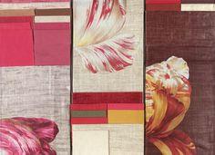 Showing BROCHIER #fabrics: Frittelino, Tre, Bosforo, Pancrazio, Ucciardone, Coviello, Colombina and Poggioreale. http://brochier.it/fabrics/design-inspiration/024-tulipani-stampati/