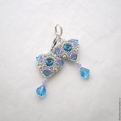 """Купить Серьги из бисера и кристаллов Swarovski """"Время года - Весна"""" - голубой, украшения, серьги, бисер"""