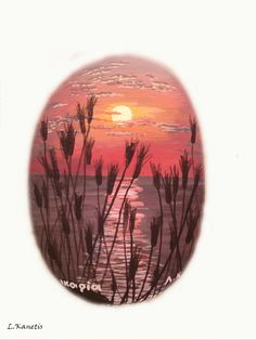 Beautiful sunset painted on a rock