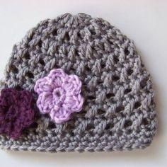 Baby Girl Crochet Beanie Hat Gray with Purple Flowers 0 to 3 months