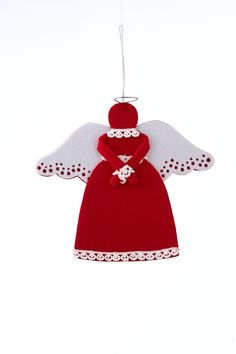 Features: -Chalet collection. -Color: Red/White. Product Type: -Shaped ornament. Theme: -Angel. Color: -Red and white. Number in Set: -1. Attachment Type: -Hanging ornament. Holiday Theme: -Ye