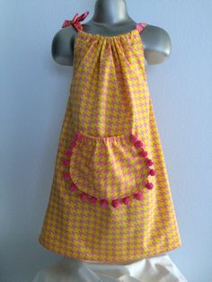 Girl's Pink & Yellow Houndstooth Pillowcase Dress, Vintage Houndstooth Pillowcase Dress, Summertime Dress, Pink Pom Pom Trim Pocket, Sz 4T-6 by BabySuzannaJohanna on Etsy