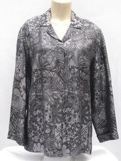 Chicos Design size 2 Print Jacket Misses 12 Silver Gray Black Silk Metallic #Chicos #Jacket