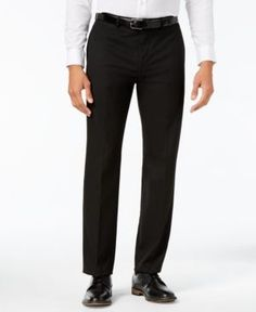 Calvin Klein Men's Extra-Slim Fit Black Twill Dress Pants - Black 33x32