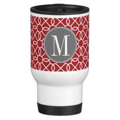 Red and Gray Geometric Pattern Monogram Mugs