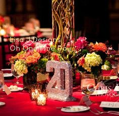 """#GLITTERED #TABLE NUMBERS #Oh One Fine Day 8"""" Wedding Decor, 1-10 Black Tie,  Bridal Shower, Baby Shower, Sweet 16 Bat Mitvah Quinceanera. $125.00, via Etsy. wedding tables, wedding anniversary, color schemes, shower baby, tabl number, table numbers, parti, bridal showers, baby showers"""