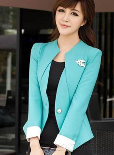 Graceful Pure Color Lines Split Joint Leaf Shape Brooch Celebrity Slim Korean Blazer Exquisite One-Button Long Sleeve Slim Korean Blazer Korean Blazers & Hoodies For Teen Girls By DressVe From 2015 Shop Graceful Korean Style Slim Solid Color Coat on sale Modest Fashion, Fashion Outfits, Womens Fashion, Fashion Trends, Jackets Fashion, Fashion Hoodies, Blazer Fashion, Elegant Outfit, Office Fashion