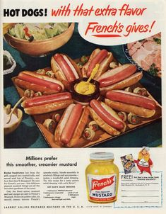 A vintage French Mustard ad with hot dogs, from 1950.