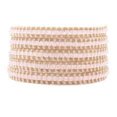 Peony Crystal Wrap Bracelet on Beige Leather - Chan Luu