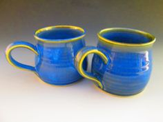 Bright blue coffee cups  Soquel Pottery