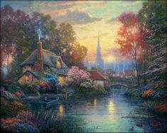 Thomas Kinkade - Nanette's Cottage - Paper and Canvas Art Prints by Thomas Kinkadewww.christcenteredmall.com