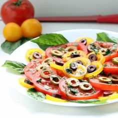 Neapolitan Tomato Salad! Only five minutes of prep stand between you and this sumptuous and beautiful display of flavor and nutrients!